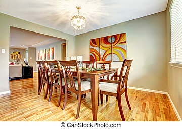 Dining room with table set - Open floor plan. View of dining...
