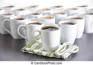 Coffee for everyone in the office, bistro coffee cups in...