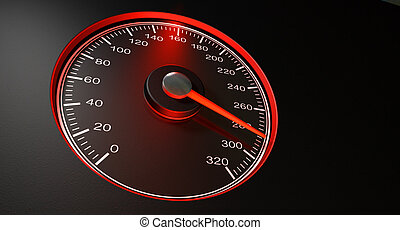 Speedometer Red Fast Speed - A regular speedometer with...
