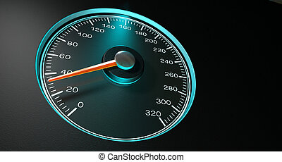 Speedometer Blue Fast Speed - A regular speedometer with...