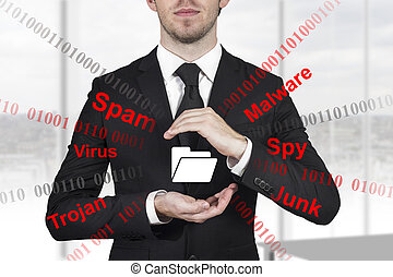 businessman protecting dollar symbol - businessman in black...