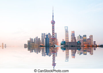 Shanghai bund at sunrise skyline