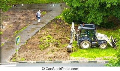 excavator is the reincarnation of soil in parks - Earthen...