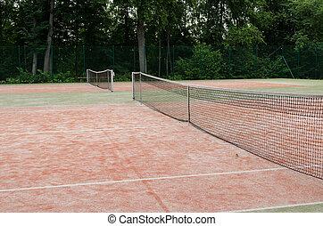 tennis courts in recreation village park summer