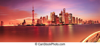 Shanghai skyline at dawn - Shanghai bund skyline at dawn...