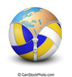 Planet Earth inside volleyball ball Tennis ball with royal...