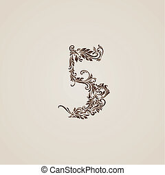 Decorated five digit on beige - Richly decorated five digit...