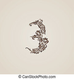 Decorated three digit on beige - Richly decorated three...