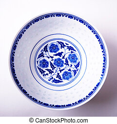 Directly above an empty bowl - Directly above an empty blue...