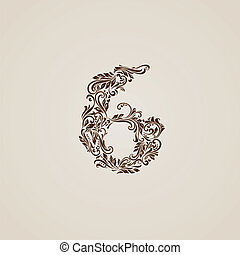 Decorated six digit on beige - Richly decorated six digit on...