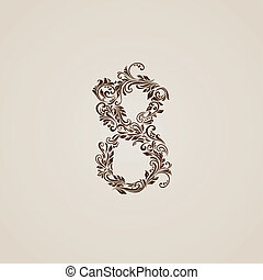 Decorated nine eight on beige - Richly decorated eight digit...