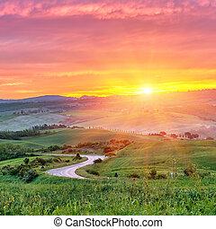 Tuscany sunrise - Beautiful Tuscany landscape at sunrise,...