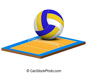 Symbol of a volleyball game and field - Symbol of a...