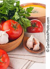 Vegetarian food, vegetables, herbs and bread closeup