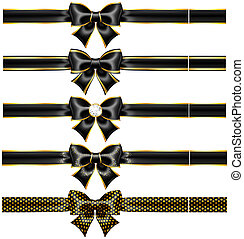 Black bows with gold and ribbons - Vector illustration -...