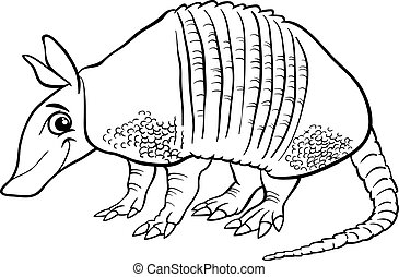 armadillo animal cartoon coloring page - Black and White...