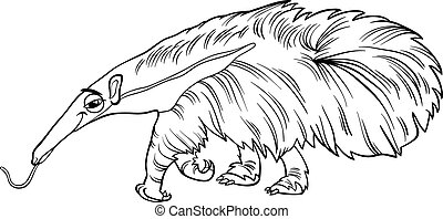anteater animal cartoon coloring book - Black and White...