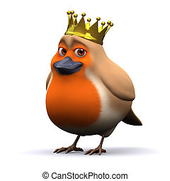 3d King robin red breast - 3d render of a robin wearing a...