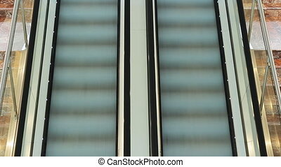people rush on escalator - people rushing on escalator at...