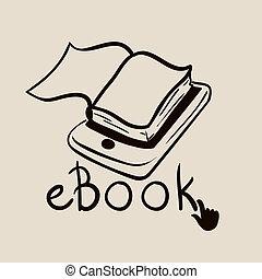 eBook design over beige background, vector illustration