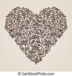 Decorated brown heart - Decorative hearts of the rich brown...
