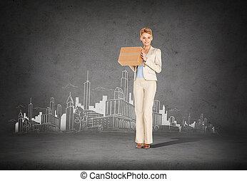 executiva, entregar, papelão, caixa