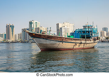Sharjah port - SHARJAH, UAE - OCTOBER 29: Sharjah port, on...