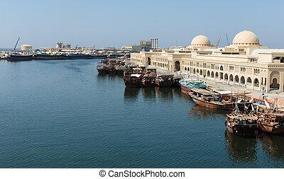 Sharjah - port - SHARJAH, UAE - OCTOBER 28: Sharjah - port,...