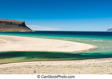 West Fjords - Extremly beautiful bay with mighty golden...