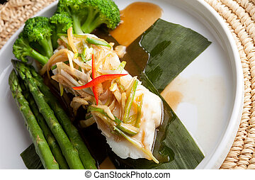 Thai Sea Bass with Asparagus - Freshly prepared Thai style...
