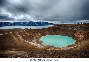 Oskjuvatn and Viti - Giant volcano Askja offers a view at...