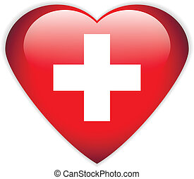 Swiss flag button. - Swiss flag button on a white...