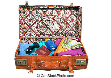 Leather suitcase packed for vacation - Vintage open suitcase...