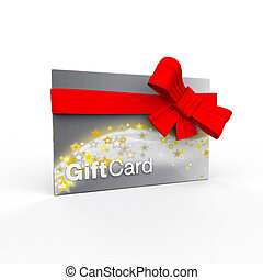 Shiny silver and gold stars gift card wrapped in red bow -...