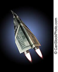 Money jet,100 dollar bill concept for rising financial...