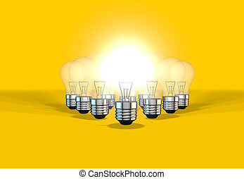 lightbulbs representing idea generation as a team