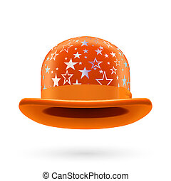 Orange starred bowler hat - Orange round bowler hat with...
