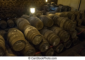 Port wine cellar in Vila Nova de Gaia, Portugal