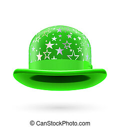 Green starred bowler hat - Green round bowler hat with...