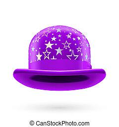 Violet starred bowler hat - Violet round bowler hat with...