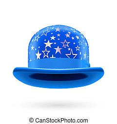 Blue starred bowler hat - Blue round bowler hat with silver...