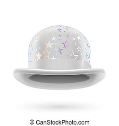 White starred bowler hat - White round bowler hat with...