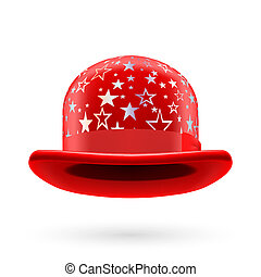 Red starred bowler hat - Red round bowler hat with silver...