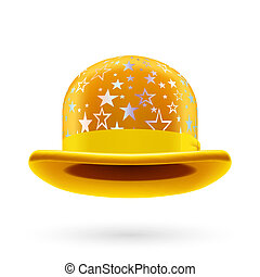 Yellow starred bowler hat - Yellow round bowler hat with...