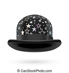 Black starred bowler hat - Black round bowler hat with...