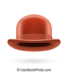 Brown bowler hat - Brown round traditional hat with hatband...