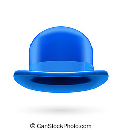 Blue bowler hat - Blue round traditional hat with hatband on...
