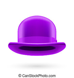 Violet bowler hat - Violet round traditional hat with...