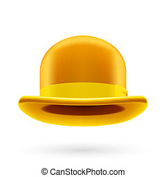 Yellow bowler hat - Yellow round traditional hat with...