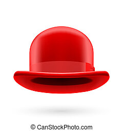 Red bowler hat - Red round traditional hat with hatband on...